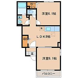 福岡県久留米市藤光町の賃貸アパートの間取り