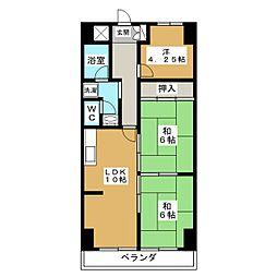 足立ハイツ竹田[3階]の間取り