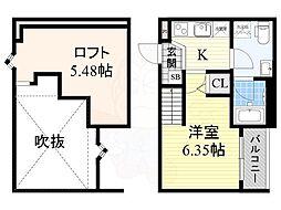 南海線 堺駅 徒歩9分の賃貸アパート 2階1Kの間取り