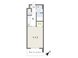 JR鹿児島本線 小倉駅 徒歩19分の賃貸マンション 3階1Kの間取り