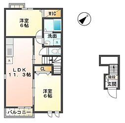 滋賀県東近江市聖徳町の賃貸アパートの間取り