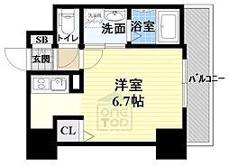 ララプレイス ザ・京橋ステラ 4階ワンルームの間取り