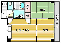 大阪府茨木市大池1丁目の賃貸マンションの間取り