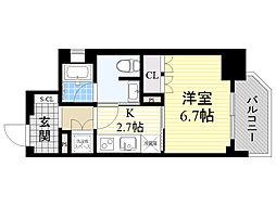 Osaka Metro四つ橋線 本町駅 徒歩3分の賃貸マンション 3階1Kの間取り