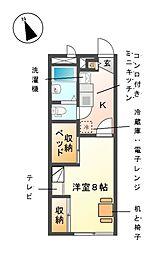 レオパレス西小田[2階]の間取り