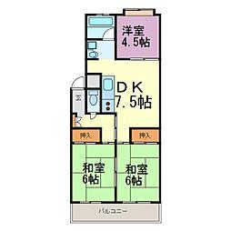 愛知県半田市有楽町3丁目の賃貸マンションの間取り