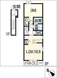 スクエア新正 I[2階]の間取り