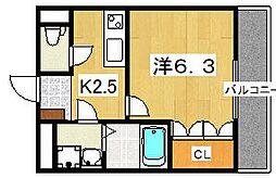 リバティーK・M[1階]の間取り