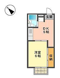 愛知県長久手市長配1の賃貸アパートの間取り