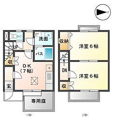 愛知県清須市清洲の賃貸アパートの間取り
