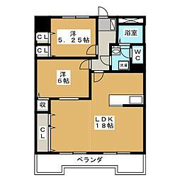 学戸スカイマンション[5階]の間取り
