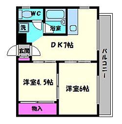 マッセ東野田ハイツ[5階]の間取り