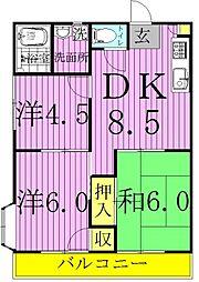 千葉県我孫子市天王台6丁目の賃貸アパートの間取り