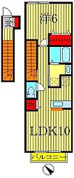 千葉県柏市増尾台1丁目の賃貸アパートの間取り