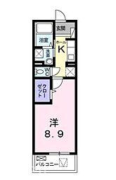 JR山陽本線 五日市駅 徒歩31分の賃貸マンション 2階1Kの間取り