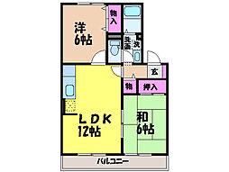 愛媛県松山市北井門3丁目の賃貸アパートの間取り