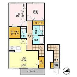 茨城県つくば市みどりの南の賃貸アパートの間取り