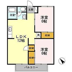 神奈川県大和市代官2丁目の賃貸アパートの間取り