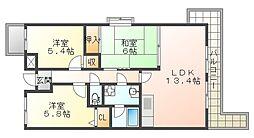 兵庫県神戸市垂水区東垂水3丁目の賃貸マンションの間取り