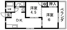 グローリィハイツ八戸ノ里[54号室号室]の間取り