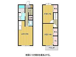 愛知県名古屋市天白区音聞山の賃貸アパートの間取り