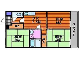 奥田ハイツ[4階]の間取り