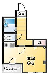 南海高野線 萩ノ茶屋駅 徒歩4分の賃貸マンション 3階ワンルームの間取り