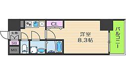 Osaka Metro中央線 阿波座駅 徒歩5分の賃貸マンション 11階1Kの間取り