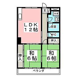 プレステ−ジ黒松[1階]の間取り