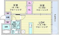 シャルム.K 2階2LDKの間取り