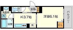 (仮称)東淀川区菅原D-room 2階1Kの間取り