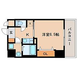 近鉄奈良線 新大宮駅 徒歩3分の賃貸マンション 10階1Kの間取り