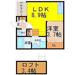 愛知県名古屋市熱田区二番1丁目の賃貸アパートの間取り