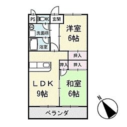 シャインハイム池端 4階[402号室]の間取り