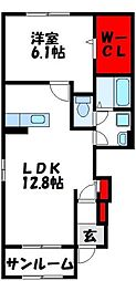 プラージュ B 1階1LDKの間取り