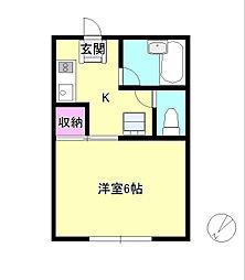 東京都八王子市散田町2丁目の賃貸アパートの間取り