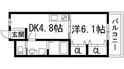 栄根コーポラス[4階]の間取り
