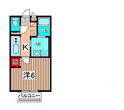 埼玉県さいたま市緑区東浦和1丁目の賃貸アパートの間取り