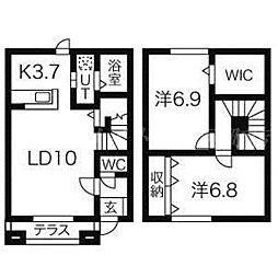 [テラスハウス] 北海道札幌市東区本町二条7丁目 の賃貸【/】の間取り