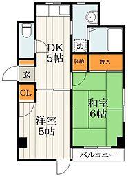 都営浅草線 蔵前駅 徒歩7分の賃貸マンション 5階2DKの間取り