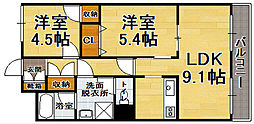 ホワイトピア博多駅南[9階]の間取り