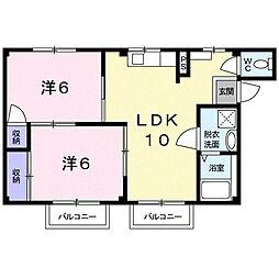 シティハイツ本郷草2[2B号室]の間取り