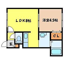 北海道札幌市中央区南八条西9丁目の賃貸アパートの間取り