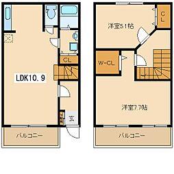 兵庫県尼崎市南武庫之荘9丁目の賃貸アパートの間取り