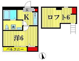 千葉県松戸市南花島3の賃貸アパートの間取り