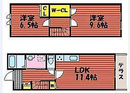 [テラスハウス] 岡山県岡山市北区白石 の賃貸【/】の間取り