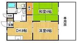 兵庫県高砂市荒井町御旅1丁目の賃貸アパートの間取り