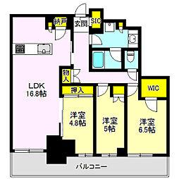 ブリリアタワー高崎アルファレジデンシア 805号 8階3LDKの間取り