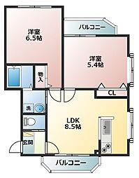 メゾンドクラ[1階]の間取り