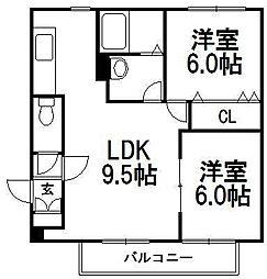 メゾン恵和発寒[6階]の間取り